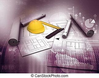 bleu, outillage, travail, plans, architecture