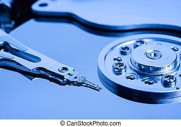 bleu, ouvert, harddisk, haut fin
