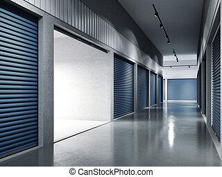 bleu, ouvert, .., installations, door., stockage, doors., rendre, 3d