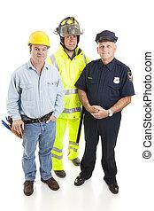 bleu, ouvriers, groupe, collier