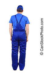 bleu, overalls., vue., ouvrier, dos