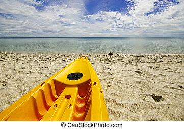 bleu, pagaie, mer, bateaux, plage blanche, sablonneux