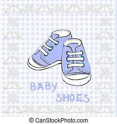 bleu, paire, chaussures, illustration
