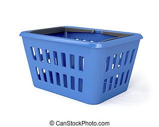 bleu, panier, achats