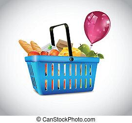 bleu, panier, nourriture, plastique