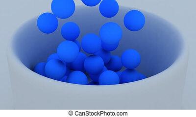 bleu, panier, remplissage, balles, 3d