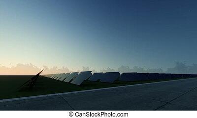 bleu, panneaux, levers de soleil, solaire