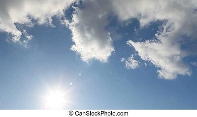 bleu, panorama, nuages, ciel
