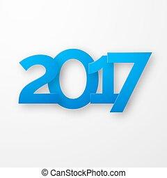 bleu, papier, année, nouveau, 2017, ombre, heureux