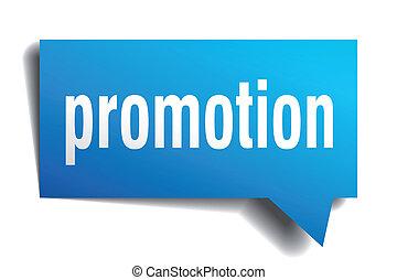 bleu, papier, bulle, promotion, réaliste, isolé, parole, 3d...