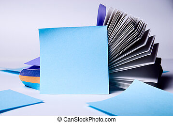 bleu, papier, feuille,  notes, pile