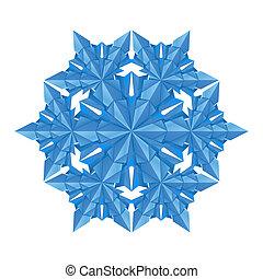 bleu, papier, flocon de neige