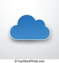 bleu, papier, white., nuage