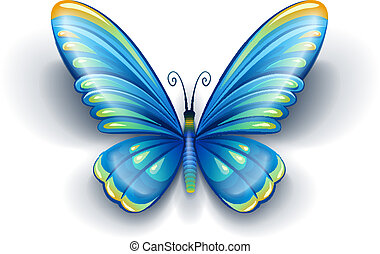 bleu, papillon, ailes, couleur