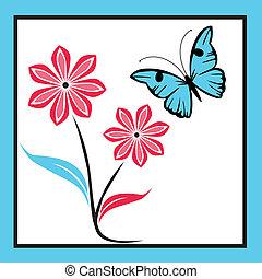 bleu, papillon, fleurs