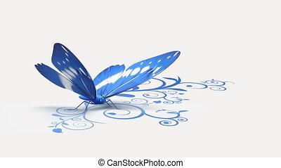 bleu, papillon, fond, orné