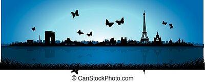 bleu, papillon, silhouette, paris, horizon, fond