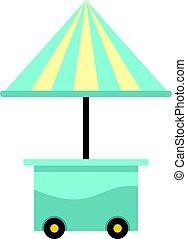 bleu, parapluie, mobile, isolé, charrette, icône