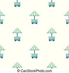 bleu, parapluie, mobile, modèle, seamless, charrette