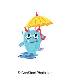 bleu, parapluie, monstre, spiky, pluie, queue, cornes, sous
