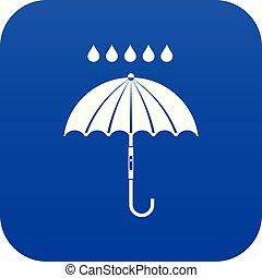 bleu, parapluie, pluie, numérique, gouttes, icône