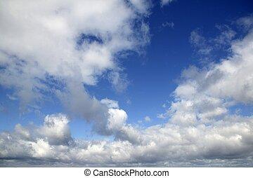 bleu, parfait, nuages, été, ciel, blanc