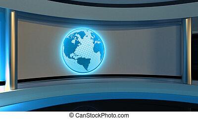 bleu, parfait, tv, photo, écran, chroma, production., n'importe quel, rendre, vidéo, clã©, nouvelles, vert, studio., ou, toile de fond, 3d