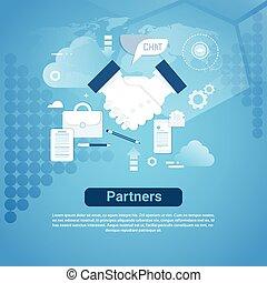 bleu, partenaires, concept, business, espace, association, main, toile, fond, secousse, copie, bannière