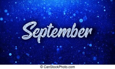 bleu, particules, septembre, texte, invitation, salutations,...