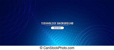 bleu, particules, technologie, effet, bannière