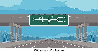 bleu, passage inférieur, ciel, isolé, illustration, autoroute, vert, journée, fond, signage, ou, route, autoroute