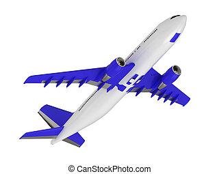 bleu, passager, blanc, avion ligne