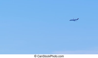 bleu, passager, mouches, ciel, avion, bas