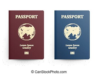 bleu, passeports, vecteur, illustration., globe., map., isolé, réaliste, cover., identification, asia., passeport, devant, international, document., rouges