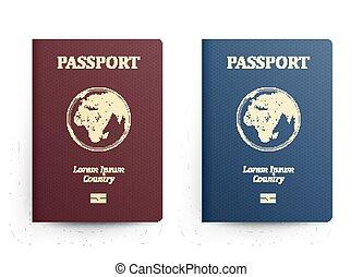 bleu, passeports, vecteur, illustration., map., isolé, réaliste, cover., identification, rouges, passeport, afrique., devant, international, document., globe.