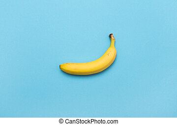 bleu, pastel, flatlay., mode, jaune, arrière-plan., banane, minimal