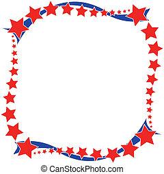 bleu, patriotique, cadre, blanc rouge