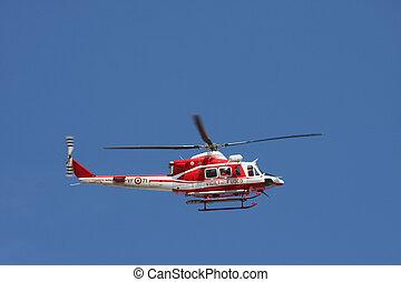 bleu, patrouille, brûler, pompiers, ciel, 3, hélicoptère, sur