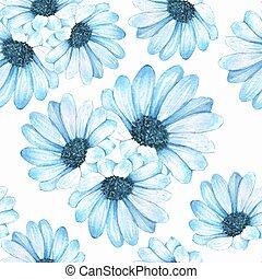 bleu, pattern., seamless, 4, floral, fleurs