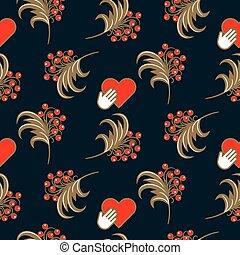 bleu, pattern., seamless, traditionnel, russe, khokhloma, folklorique