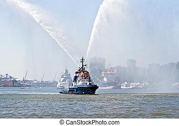 bleu, pays-bas, pulvérisation, eau feu, port, rotterdam,...
