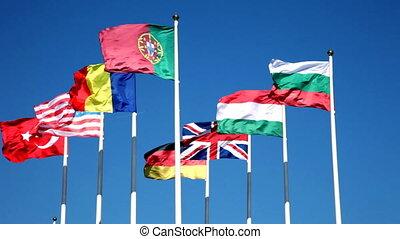 bleu, pays, ciel, contre, drapeaux, mondiale