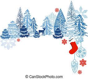 bleu, paysage, cerf, arbres hiver
