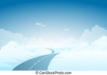 bleu, paysage hiver