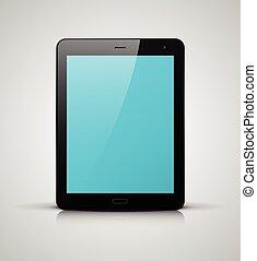 bleu, pc, écran, noir, tablette