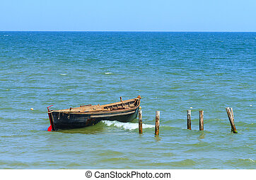 bleu, peche, mer, bateau