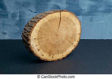 bleu, peint, anneaux, annuel, arbre, arrière-plan., section transversale, bois, close-up., toqué, morceau