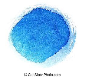 bleu, peint, main, coups, brosse, encre
