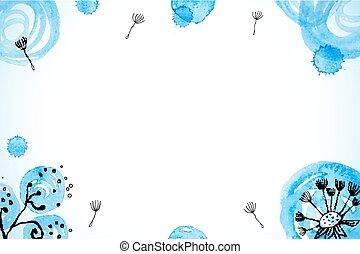 bleu, peint, résumé, aquarelle, pissenlits, fond
