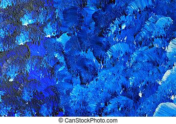 bleu, peint, toile